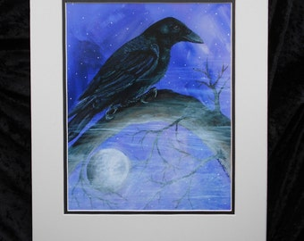 Purple Night - A Crow admires the moon and the purple evening sky.