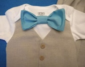 Baby Boy Tan Vest & Bow Tie Aqua or in Any Color on a Carter's bodysuit short or long sleeve Any Size for Any Special Occasion BabyCuteBaby