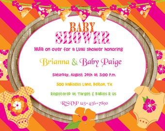 Tropical Luau Baby Shower Pink Invitation Digital DIY