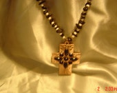 Large copper like cross, 21/4x3 inches on 19 inch black and white beaded chain.OOAKHandmade Black andwhite  Jewelry