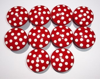 Set of 10 Hand Painted Dark Red and White Polka Dot Drawer Knobs