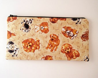 Puppy Zipper Pouch, Make Up Bag, Gadget Bag, Pencil Pouch, Beige