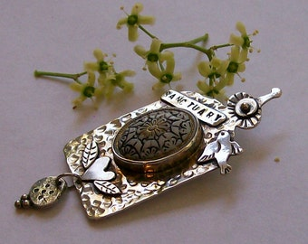 Sterling Silver Bird Sanctuary Pendant with Vintage Button, Retablos Shrine and Heart