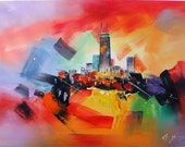 """Goldy Young -CHICAGO SKYLINE 24""""x 36"""""""