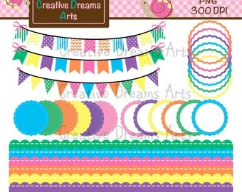 40% Off! Bunting, Borders, & Scallops Digital Clipart Instant Download