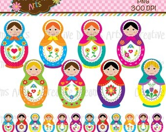40% Off! Matryoshka Dolls ClipArt Instant Download
