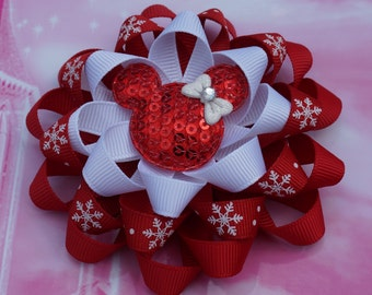 Red Christmas Hair Bow Loopy Flower Hair Bow Minnie Mouse Hair Bows Loopy Hair Bow Disney Hair Bow