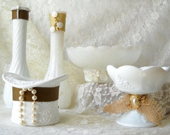 11 Upcycled Milk Glass Wedding Centerpieces White Vases Bowls and Candlesticks Farmhouse Chic Home Decor