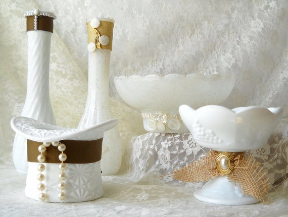 11 Upcycled Milk Glass Wedding Centerpieces White Vases Bowls