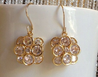 Bridal Earrings/ 14KT GF Gold CZ flowerball earrings 14KT Gold Cubic Zirconia Flower Ball Earrings