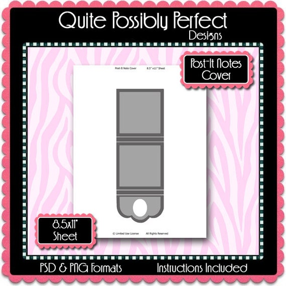 post it note cover template instant by quitepossiblyperfect With post it note cover template