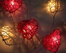 20x  Pink Tone Heart Rattan String Lights Hanging Wedding Gift Party Patio,Bedroom fairy lights,Home Floral Decor