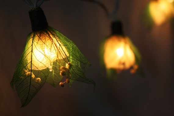 Green Flower String Lights : Fairy Lights 20 Green Tone Flower Leaves Fairy by fairylighting