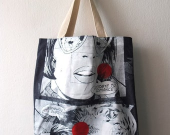 Goodby to romance polka dot 2 sided multi pop art print denim tote bag
