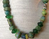 African Trade Bead Necklace, one of a kind choker made with rare green Hebron/Kano beads, 150 yr old trade beads