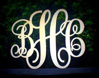 "Monogram Wood Letter Initials 24"" Width Script Font"