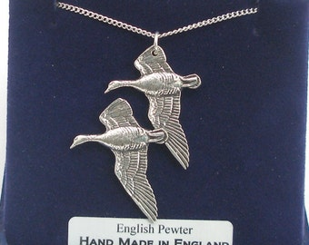 Pair of Geese Necklace in Fine English Pewter, Handmade by Hoardersworld, Gift Boxed (bird)