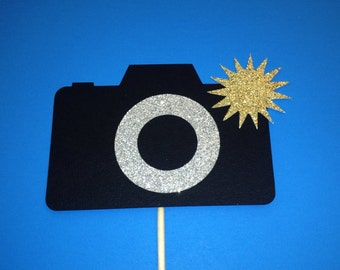 Photo Booth Props- Camera With Glitter- Photo Booth Props