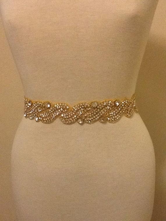 Gold all around bridal belt wedding belt bridal sash wedding for Gold belt for wedding dress