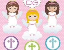 Digital Clipart Cute Girl Angel / Frame / Angel Background / Digital Paper Pack / Clipart First Communion / ClipartCross
