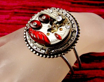 Steampunk Vintage Pocket Watch Movement Bracelet with Red Vintage Glass Crystals, by Kay E2201