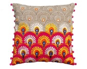 "Colorful bohemian style linen pillow cover, embroidered pillow case, tribal, indian craft pillow, ethnic, 16""X16"""