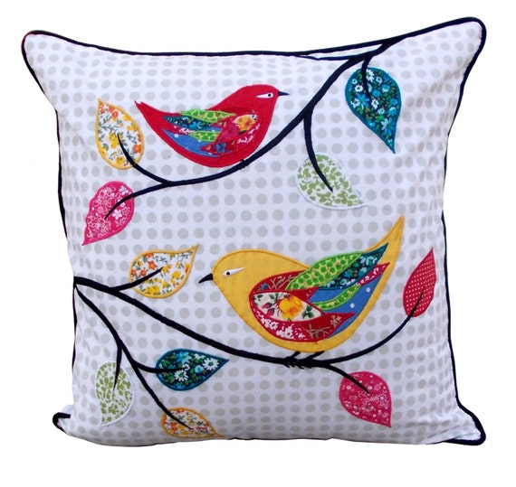 Twitter throw pillow bird pattern applique embroidery by VLiving