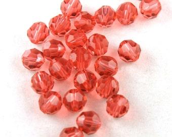 11x Padparadscha Round Swarovski Crystal Beads - B031