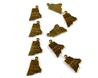 6x Brass Engraved Rhode Island State Charms - M057-RI