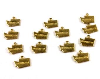 6x Brass Washington State Charms - M057-WA