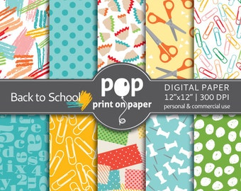 Back to School digital paper  - 10 papers - 12x12 inches - 300 DPI - Personal & Commercial use - for Kids, Fun crafts and cards