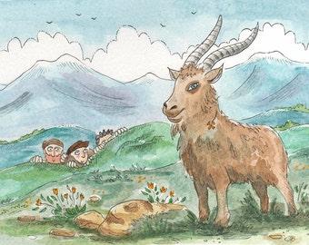 Irish Coastal Collection - Catching the Puck Goat