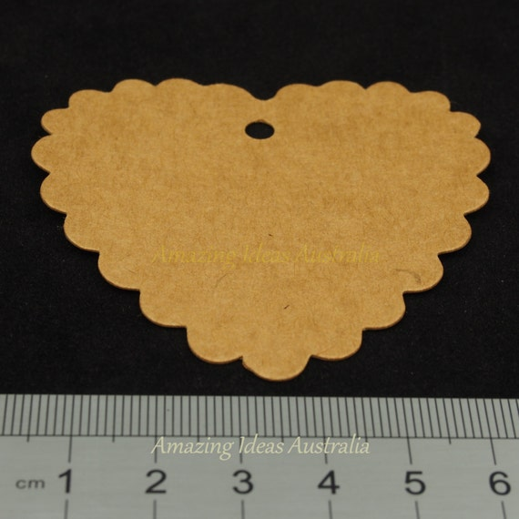 Gift Tag Scalloped Heart Kraft (25/50/100 Packs) : Party Wrapping ...