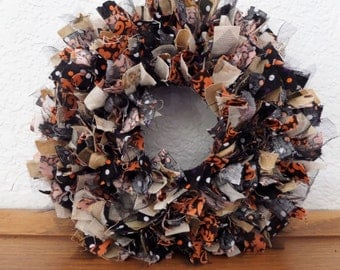 "6""  Halloween 5/ Fall  Mini Rag Wreath Wall Decor"