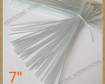 100 pcs 7 in Plastic Twist Ties  - Clear Oval