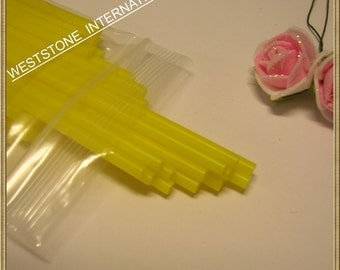 "50pcs 6"" x 5/32"" Plastic  Lollipop Sticks for Cake Pops - Yellow"
