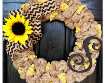 Chevron Burlap Wreath with Initial- Front Door Wreath- Wedding Gift- Monogram Wrea Sunflower Wreath- Spring Wreath