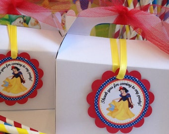 Snow White Party Tags , 12 ready to ship