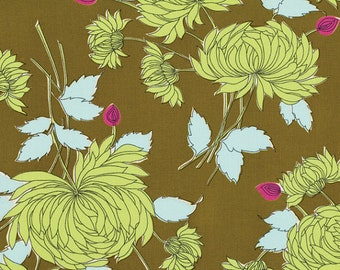 Amy Butler  STASH BELLE Fabric Collection 1 Yard Chrysanthemum in Olive Westminster Fibers