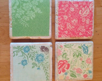 Set of 4 Garden Party Floral Coasters