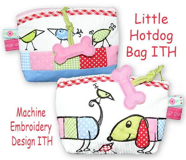Little hotdog bag ith machine embroidery design
