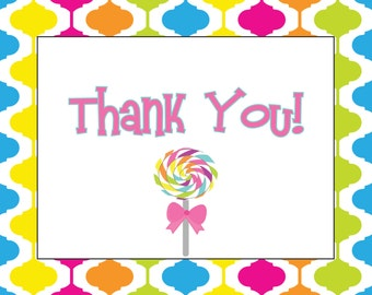 Lollipops and Gumdrops Candyland Thank You Notecard