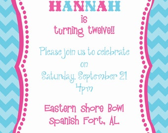 Chevron and Pennant Birthday Invitation