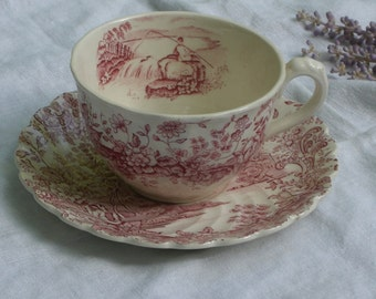 """Cup and Saucer - Red Transferware - """"Peaceful Summer"""" - Royal Staffordshire - Vintage"""