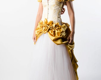 Custom Golden Wedding Dress Prom Costume Evening Gown