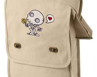 Chibi Muertos Embroidered Canvas Field Bag