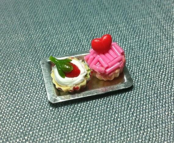 Dessert Set Miniature Clay Polymer 2 Cupcakes Cake Bakery