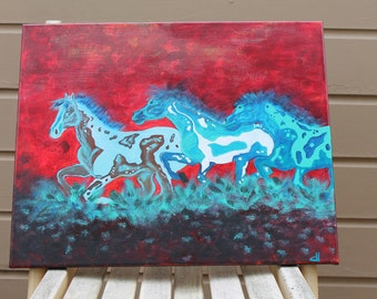 Abstract Horse Race Original Painting 16x20 Acrylic Textured Animal Art Nature Wildlife Contemporary Wall Art  to Hang