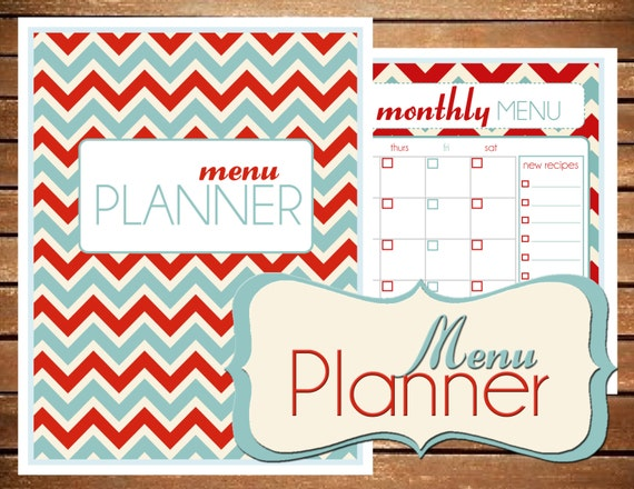 Instant Download Meal Menu Planner Chevron Printable Planner Organizer (Organized Family Binder)