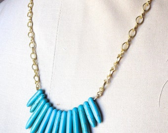 "Gold and Spiked Turquoise Pretty Little Liars ""Aria Montgomery"" Inspired Necklace"